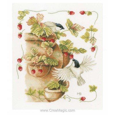 Kit broderie de Lanarte au point de croix fraises et oiseaux