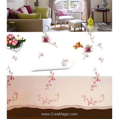 Nappe en broderie traditionnelle branche de cerisier - Bordée dentelle - Luc Création