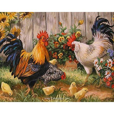 Kit broderie diamant famille poule et coq - Collection d'art