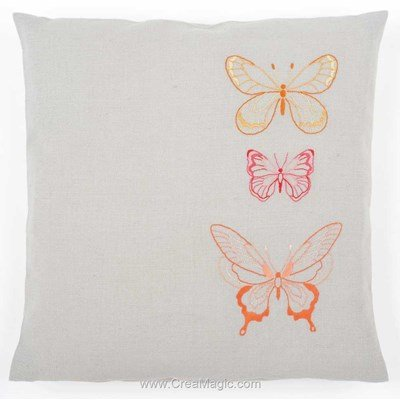 Coussin Vervaco papillons stylisés coloris orange à broder en broderie traditionnelle
