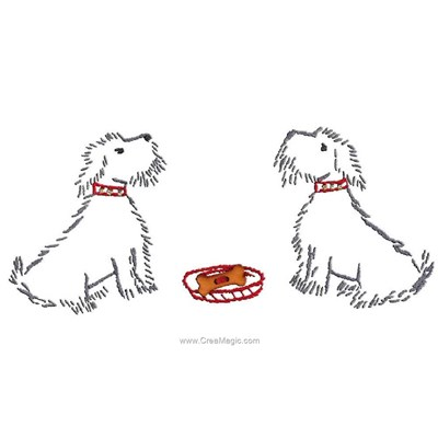 Kit de broderie traditionnelle 2 chiens pour un repas d'Au Fil De L'Ange