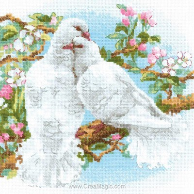 La broderie white doves - couple de colombes - RIOLIS