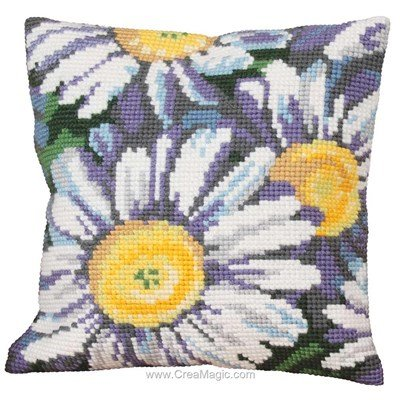 Kit coussin Collection d'art au point de croix marguerites