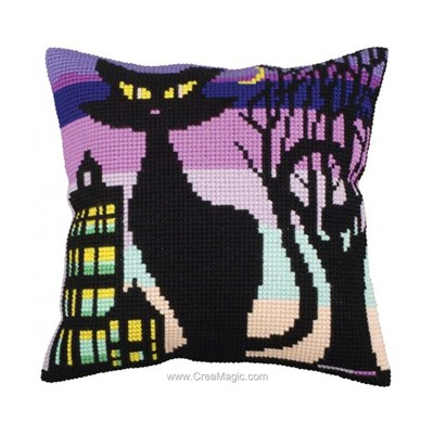 Kit coussin Collection d'art silhouette de chat 2 au point de croix
