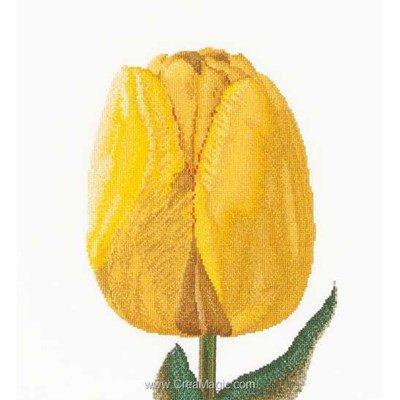 Broderie point de croix Thea Gouverneur yellow hybrid tulip sur lin
