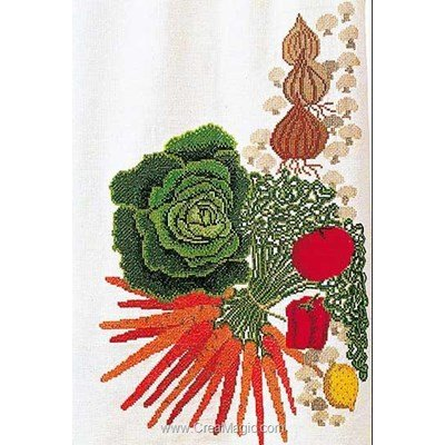 Kit à broder au point de croix légumes colorés sur aida de Thea Gouverneur