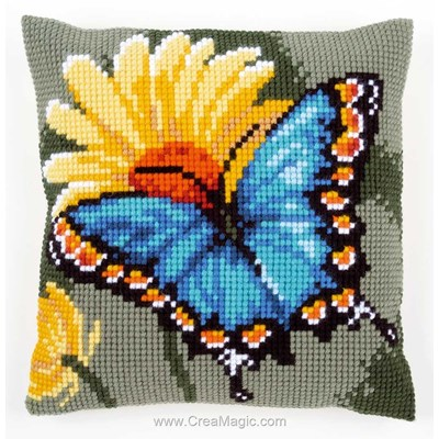 Kit coussin au point de croix Vervaco papillon bleu