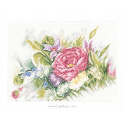 Kit broderie point compté Lanarte fleurs en aquarelle