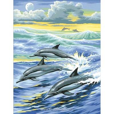 Broderie diamant famille de dauphins surfant de Diamond Painting