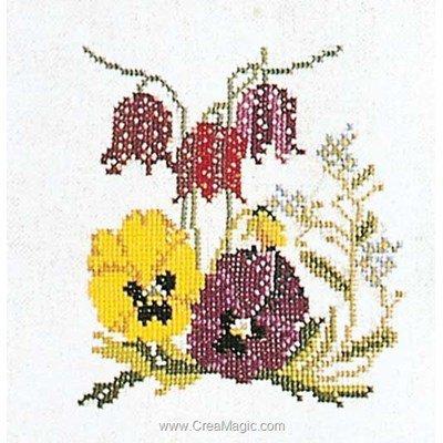 Kit tableau Thea Gouverneur point de croix pansies-fritillaries sur lin