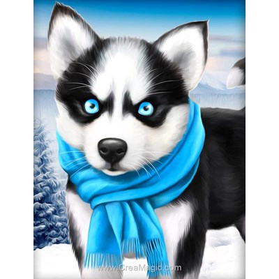 Kit broderie diamant blue eye husky de Diamond Painting