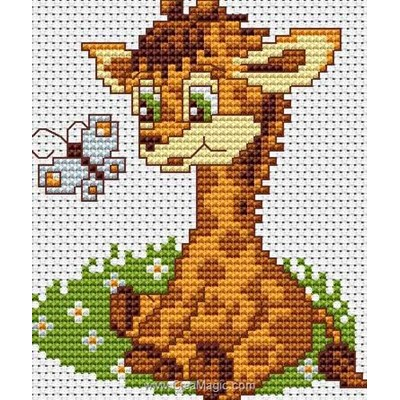 Kit broderie point de croix girafe et papillon assis de Luca-S