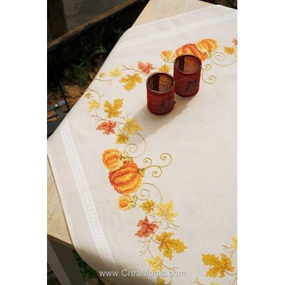Nappe en kit Vervaco citrouilles d'or à broder au point de croix imprimé