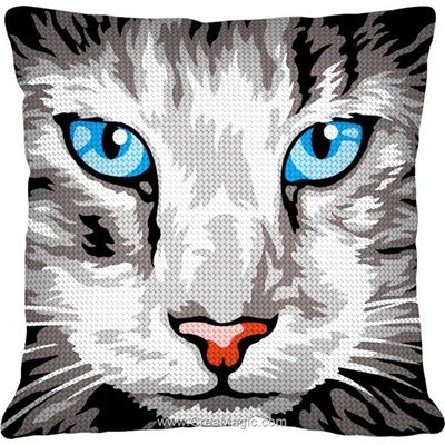 Kit coussin regard de chat gris de SEG au demi point