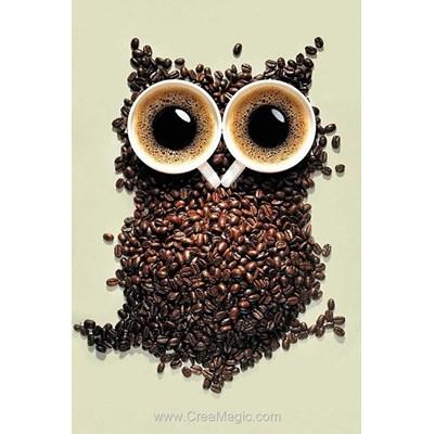 Broderie diamant coffee owl - Wizardi