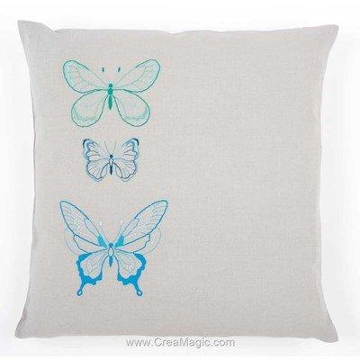 Kit coussin papillons stylisés coloris bleu à broder en broderie imprimée - Vervaco