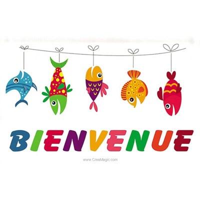 Broderie traditionnelle en kit Princesse bannière bienvenue poissons