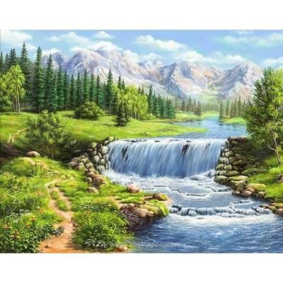 Broderie diamant rivière agitée de montagne - Diamond Painting