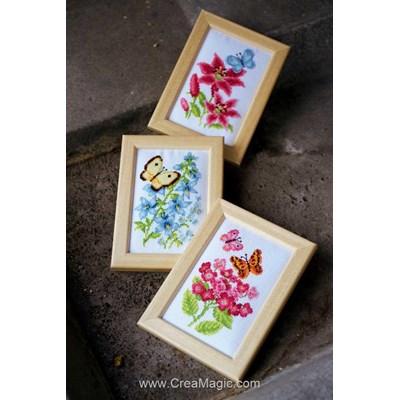 Mini broderie fleurs et papillons lot de 3 de Vervaco