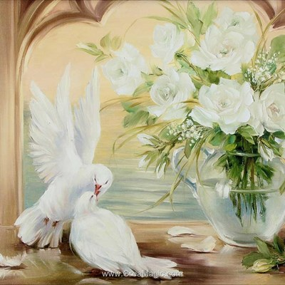 Broderie diamant Diamond Painting pigeons et roses blanches