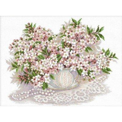 Kit point de croix RIOLIS fleur de cerisier en vase