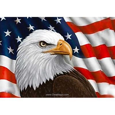 Broderie diamant Collection d'art l'aigle du drapeau united states
