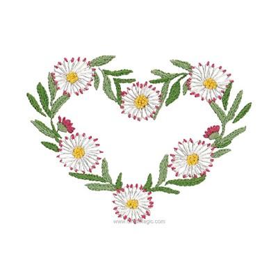 Broderie traditionnelle en kit coeur de pâquerettes - Au Fil De L'Ange