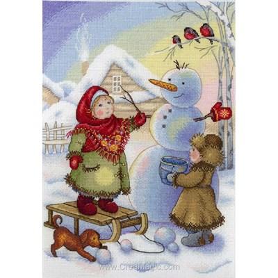 Les fillettes et le bonhomme de neige kit à broder au point de croix - MP Studia