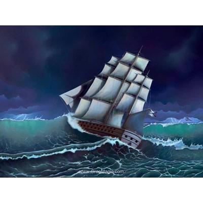 Kit broderie diamant voilier dans la tempête - Diamond Painting