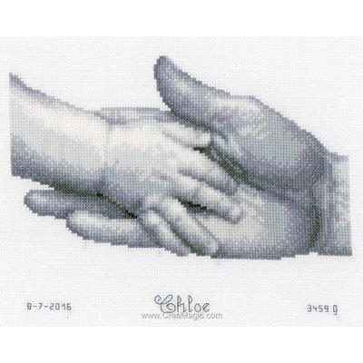 Broderie tableau prénom la main de mon père de Vervaco