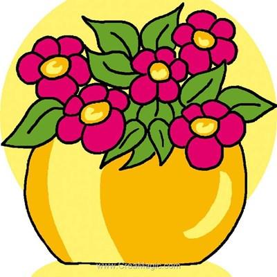 Kit canevas débutant pot de fleurs - Luc Création