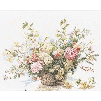 Booket of roses sur etamine kit au point de croix compté - Lanarte