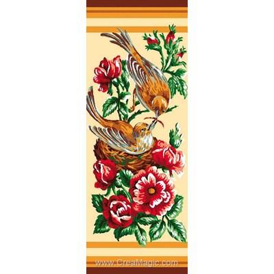 Luc Création canevas nid d'oiseaux dans les fleurs