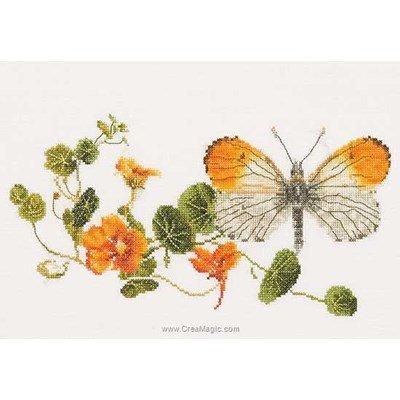 Butterfly-nasturtium sur lin kit tableau point de croix - Thea Gouverneur