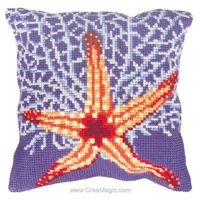 Kit coussin Collection d'art etoile et corail blanc au point de croix