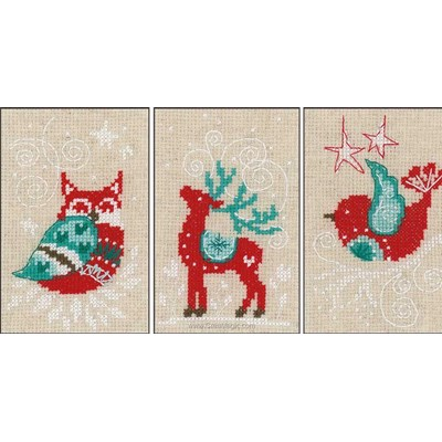 Kit carte à broder motif d'hiver Vervaco