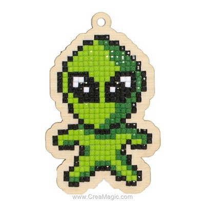 Kit broderie diamant green alien de Wizardi