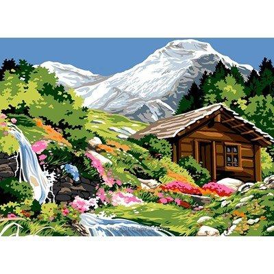 Canevas montagne creamagic - Dessin de chalet de montagne ...