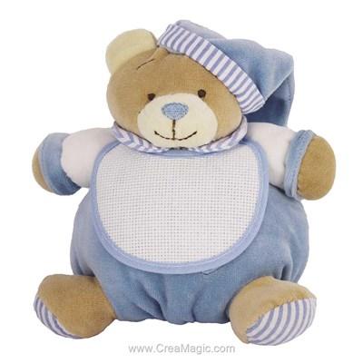Doudou pour bébé mon ours câlin bleu à broder - BM RICAMI