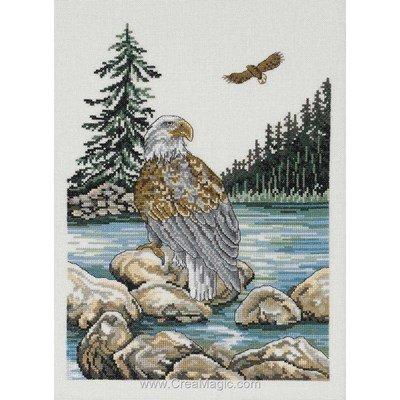 Kit broderie point de croix sea eagle sur toile lin - Permin