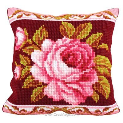 Kit coussin Collection d'art au point de croix rose romantique 2