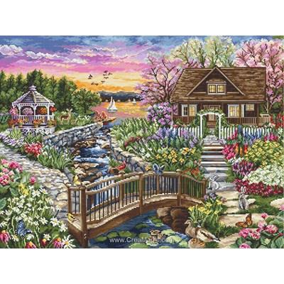 La maison du lac fleuri au printemps point de croix compté - Luca-S