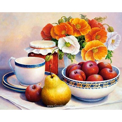 Broderie diamant Diamond Painting tea with fruits