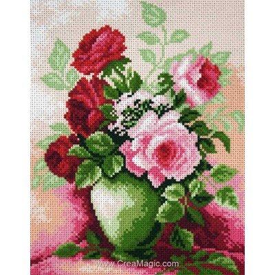 Broderie imprimée aida roses dans un vase de Collection d'art