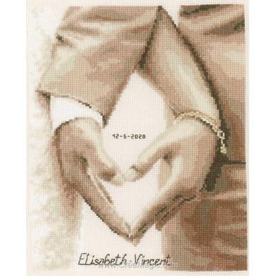 Coeur des mariés pour toujours broderie point de croix - Vervaco