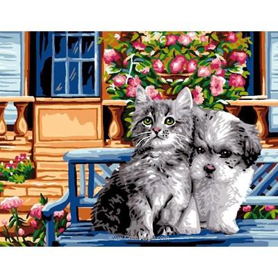 Chien et chat sur le banc canevas chez Luc Création