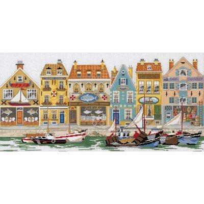 Kit Permin à broder au point de croix ville au bord de la mer