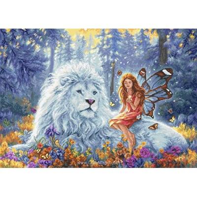 Kit à broder de LETISTITCH au point de croix le roi lion blanc du pays féérique