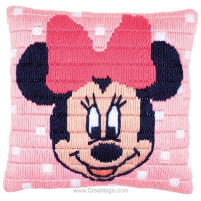 Coussin Vervaco au point lancé disney minnie mouse pois rose