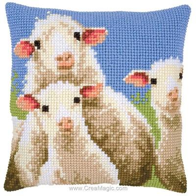 Coussin au point de croix Vervaco moutons curieux
